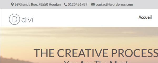 Ajout du texte dans la barre supérieure avec le thème Divi de WordPress